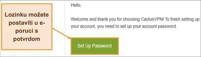 Snimka zaslona prikazuje e-poruku s potvrdom od CactusVPN-a za stvaranje lozinke za vaš račun