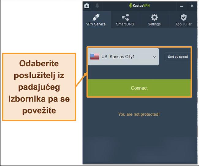 Snimak zaslona sučelja CactusVPN koji prikazuje padajući izbornik za odabir poslužitelja