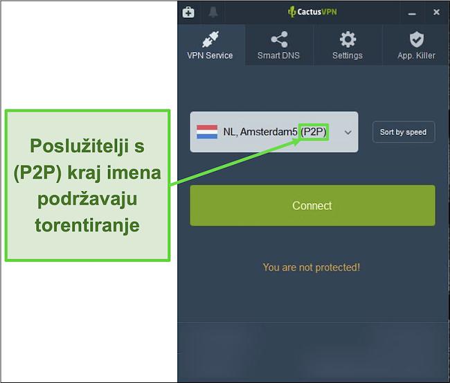 Snimka zaslona koja pokazuje koji su poslužitelji sposobni za bujice