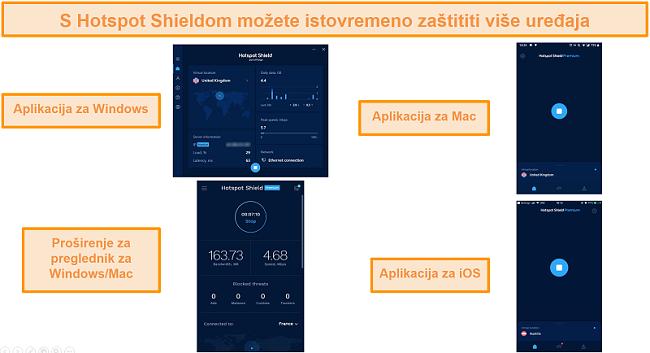 snimka zaslona aplikacije Hotspot Shield na sustavima Windows, Android, Mac i iOS.