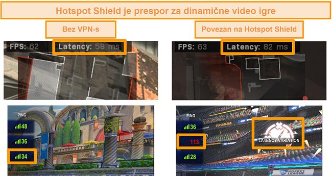 Snimka zaslona Call of Duty: Modern Warfare i Rocket League testirani na povećanje latencije kada su povezani s Hotspot Shield VPN-om na računalu.