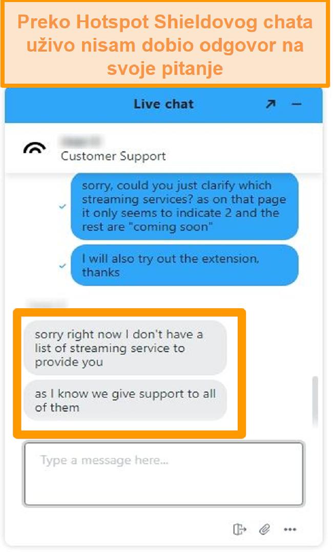 Snimka zaslona Hotspot Shield agenta za chat uživo koji nije mogao odgovoriti na moje pitanje
