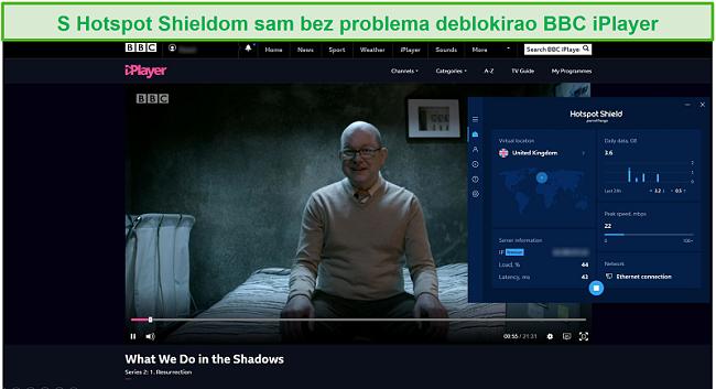 Snimak zaslona Hotspot Shield-a koji deblokira ono što radimo u sjeni na BBC iPlayeru.