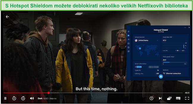 Snimka zaslona Hotspot Shielda koji deblokira Netflix i struji Dark.