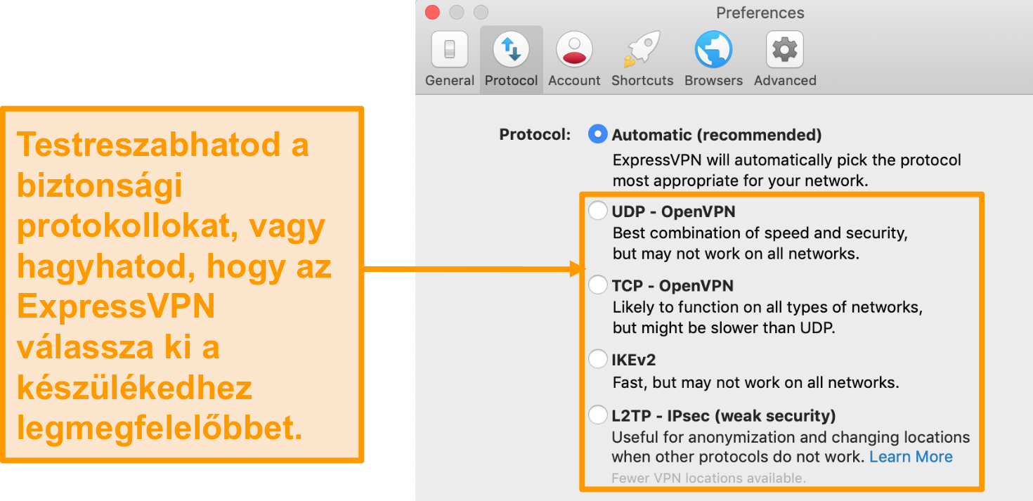 Screenshot of ExpressVPN's security protocols on the app