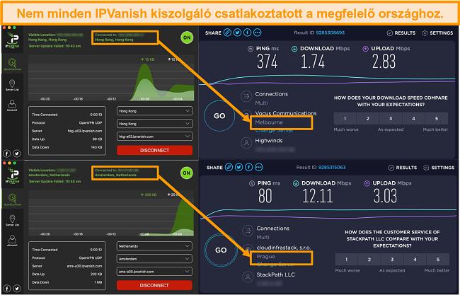 Screenshot of IPVanish app displaying incorrect server locations