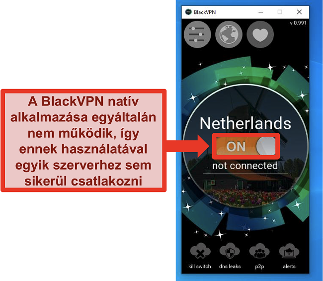 Pillanatkép a BlackVPN Windows klienséről, amely a bekapcsolás ellenére sem csatlakozik