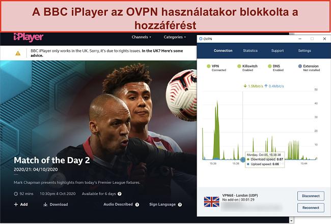 Pillanatkép arról, hogyan blokkolja az OVPN-t a BBC iPlayer