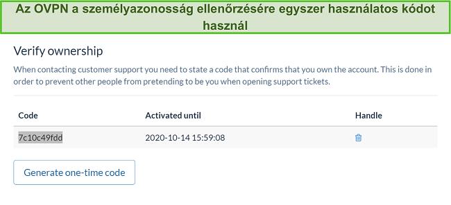 Pillanatkép az OVPN egyszeri kódjáról az identitás ellenőrzésére az előfizetés lemondási folyamata során
