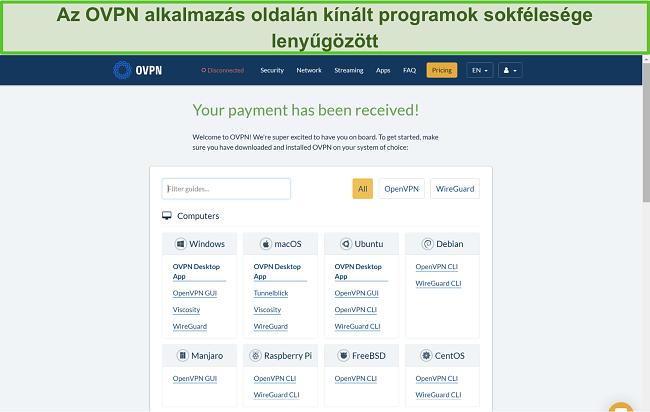 Pillanatkép az OVPN alkalmazásopcióiról
