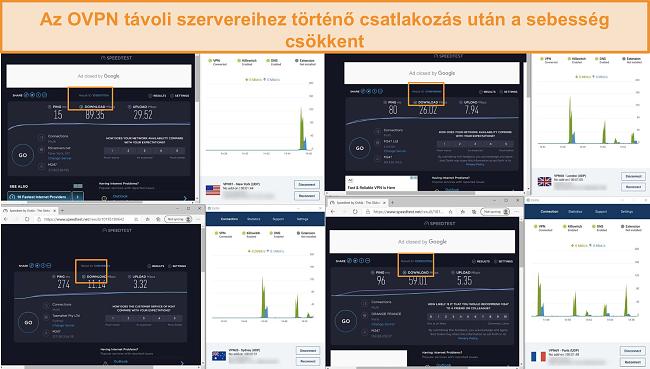 Képernyőkép 4 sebességpróbáról, miközben csatlakoznak az OVPN-hez