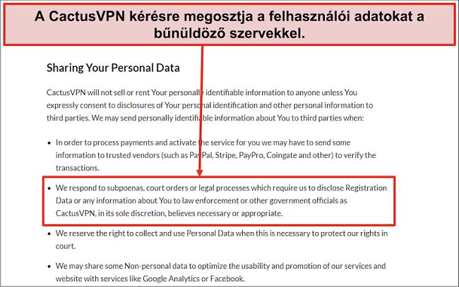 Pillanatkép a CactusVPN adatvédelmi politikájáról, amely megmutatja, hogy átadják az Ön adatait