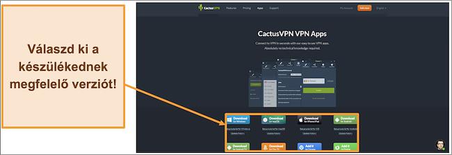 Képernyőkép, amely megmutatja, hogy hol töltse le a CactusVPN kívánt verzióját a webhelyéről