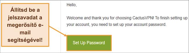 Képernyőkép, amely a CactusVPN visszaigazoló e-mailt jelenít meg fiókja jelszavának létrehozásához