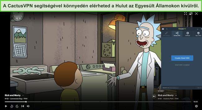 Pillanatkép arról, hogy Rick és Morty sikeresen közvetítenek a Hulu-n, a CactusVPN-hez csatlakoztatva