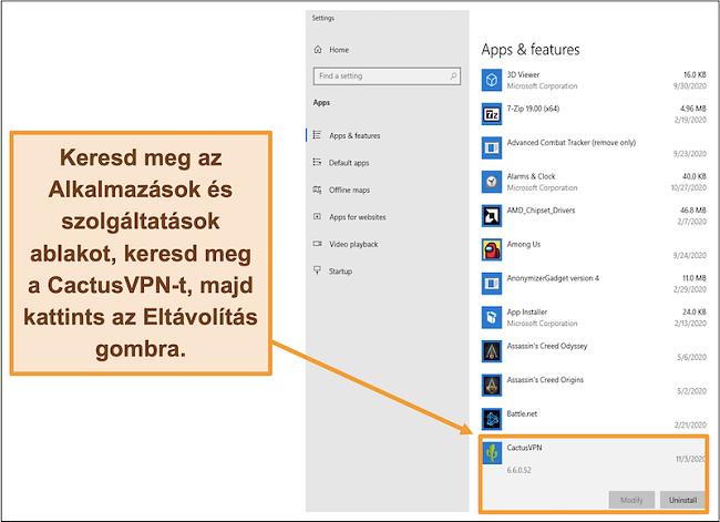 Képernyőkép, amely bemutatja, hogyan lehet elindítani a CactusVPN eltávolítását az Alkalmazások és szolgáltatások menüből