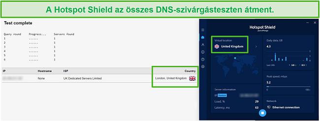 Pillanatkép a Hotspot Shield részéről, amely DNS-tesztet teljesít, miközben csatlakozik egy brit szerverhez.
