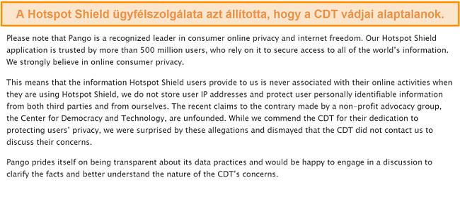 Pillanatkép a Hotspot Shield e-mailes válaszáról, amikor arról kérdezték a 2017-es esetről, amikor a CDT panaszt nyújtott be az FTC-nek a Hotspot Shield adatgyűjtési gyakorlatáról.