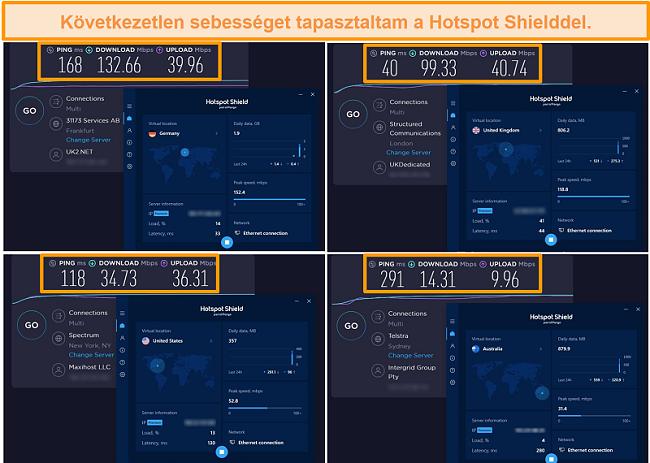 Pillanatkép a Hotspot Shield sebességtesztjeiről Németországból, az Egyesült Királyságból, az Egyesült Államokból és Ausztráliából