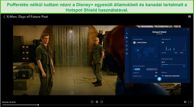 Pillanatkép a Hotspot Shield feloldásáról, amely feloldja a Disney + -ot és streameli az X-Men: A jövő múltjai napokat