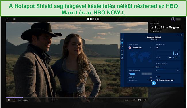 Pillanatkép arról, hogy a Hotspot Shield feloldotta a Westworld blokkolását az HBO Max-on.