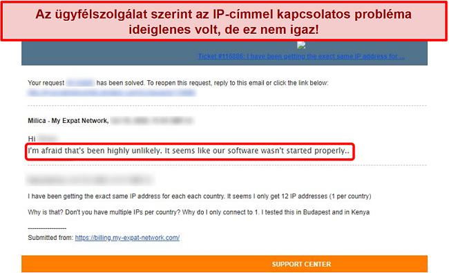 Pillanatkép a My Expat Network e-mail válaszáról, amely magyarázatot ad egy IP-cím problémájára