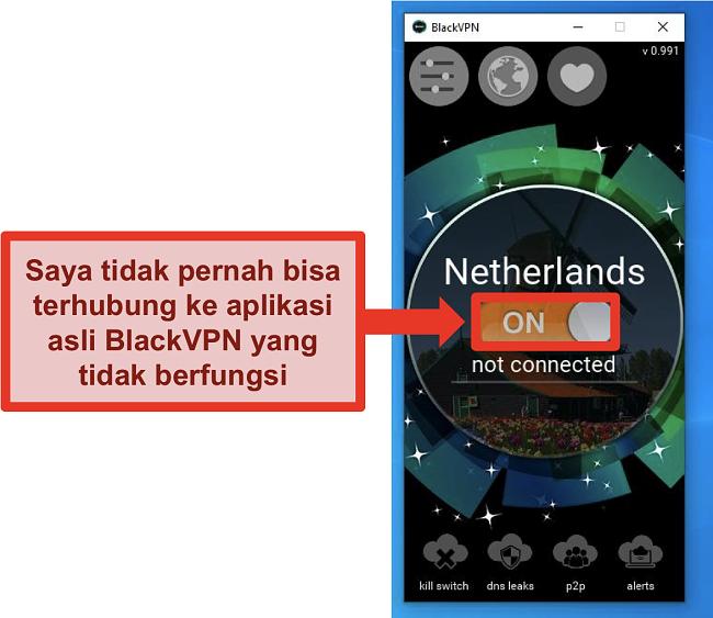 Tangkapan layar klien Windows BlackVPN tidak terhubung meskipun sedang dihidupkan