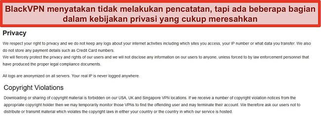 Tangkapan layar dari bagian Pelanggaran Privasi dan Hak Cipta dari Ketentuan Layanan BlackVPN