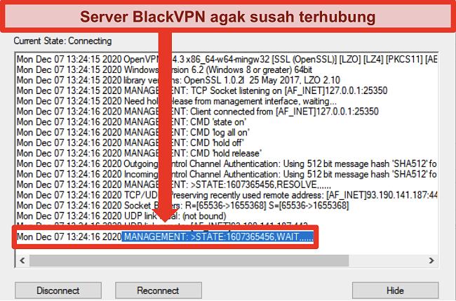Tangkapan layar BlackVPN mencoba menyambung ke server melalui klien OpenVPN