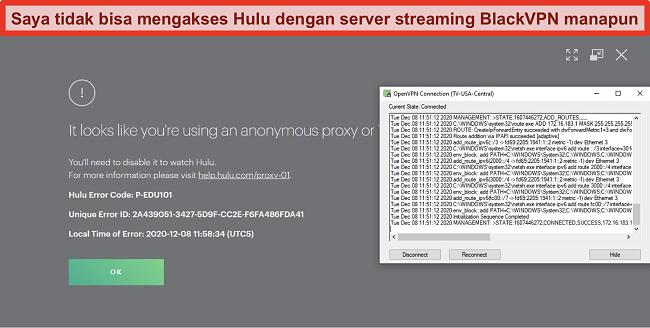 Tangkapan layar kesalahan IP proxy Hulu saat BlackVPN terhubung melalui OpenVPN
