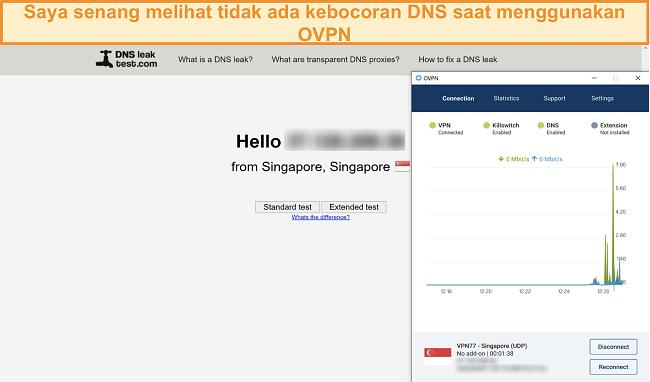 Tangkapan layar OVPN yang lulus uji kebocoran DNS