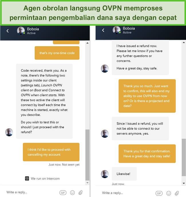 Tangkapan layar dari permintaan pengembalian dana yang berhasil melalui obrolan langsung OVPN