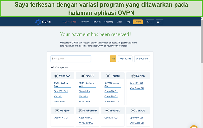 Tangkapan layar opsi aplikasi OVPN