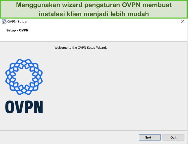 Tangkapan layar dari wizard penyiapan OVPN