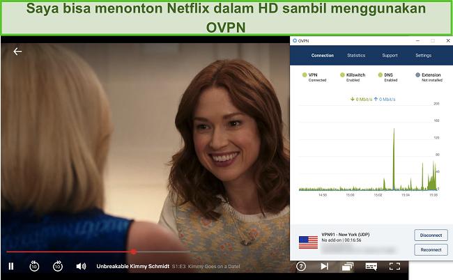 Tangkapan layar dari OVPN yang membuka blokir Netflix