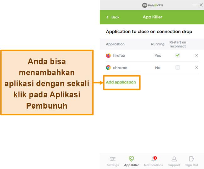 Tangkapan layar dari HideIPVPN Application Killer.