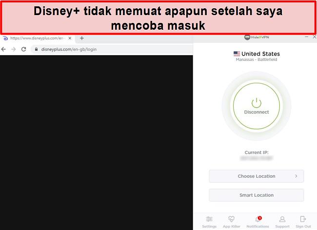 Tangkapan layar HideIPVPN gagal mengakses Disney +.