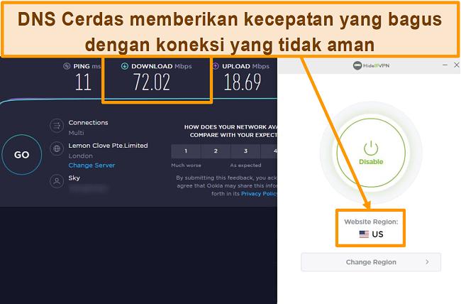 Tangkapan layar uji kecepatan HideIPVPN Smart DNS.