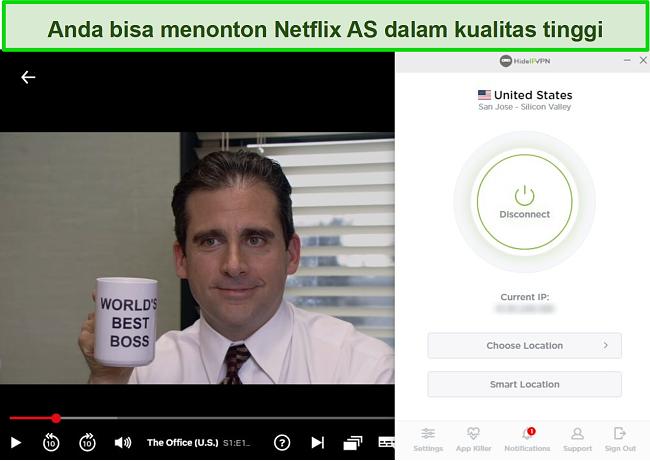 Tangkapan layar HideIPVPN membuka blokir Netflix AS, streaming The Office (AS).