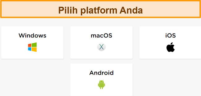 Tangkapan layar dari proses pembuatan akun HideIPVPN, di mana Anda harus memilih platform yang Anda inginkan.
