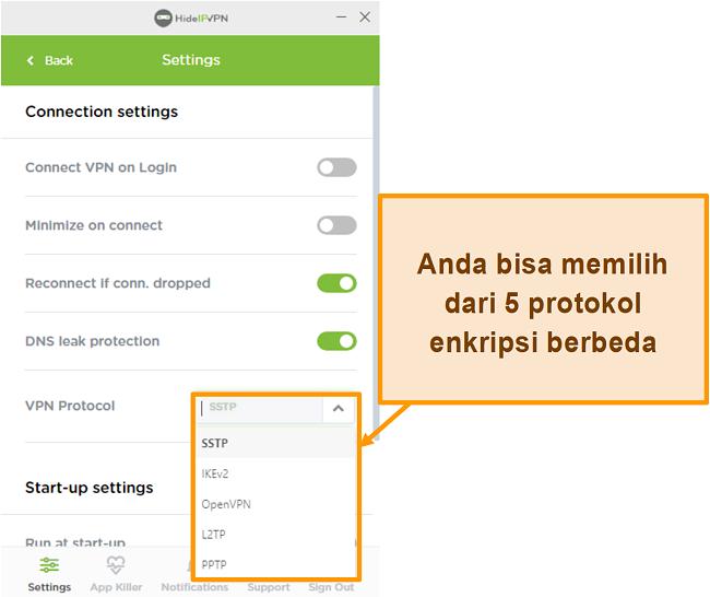 Tangkapan layar dari protokol enkripsi HideIPVPN.