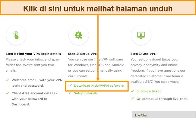 Tangkapan layar dari proses pembuatan akun HideIPVPN, di mana Anda perlu mengeklik