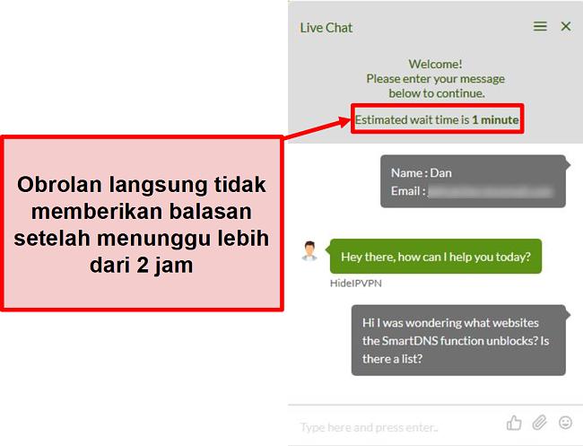 Tangkapan layar dari obrolan langsung HideIPVPN gagal membalas.
