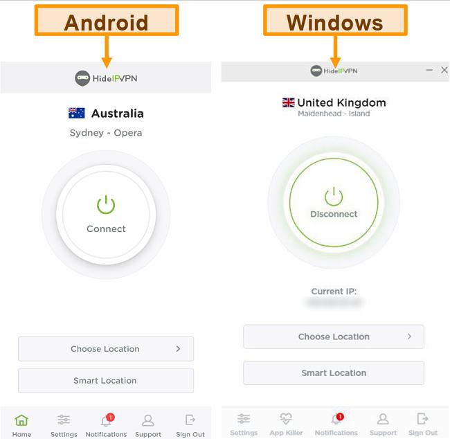 Tangkapan layar aplikasi desktop dan seluler HideIPVPN.