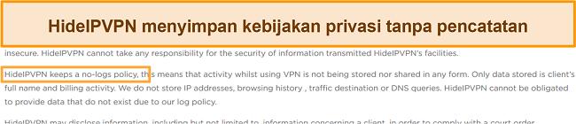 Tangkapan layar dari kebijakan tanpa pencatatan HideIPVPN.