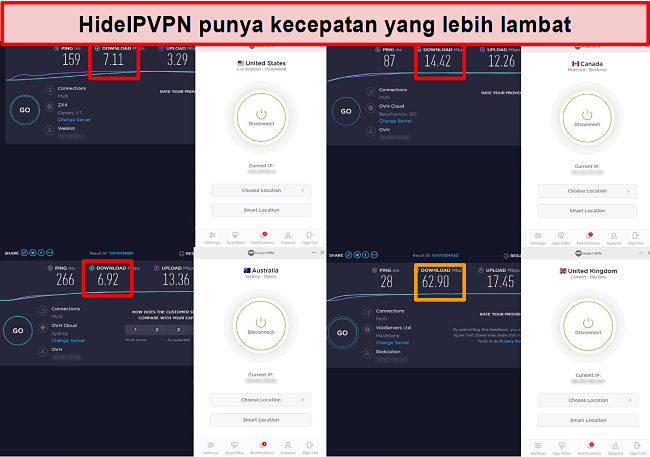 Tangkapan layar uji kecepatan HideIPVPN di 4 lokasi server.