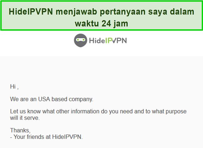 Tangkapan layar dari dukungan email HideIPVPN.