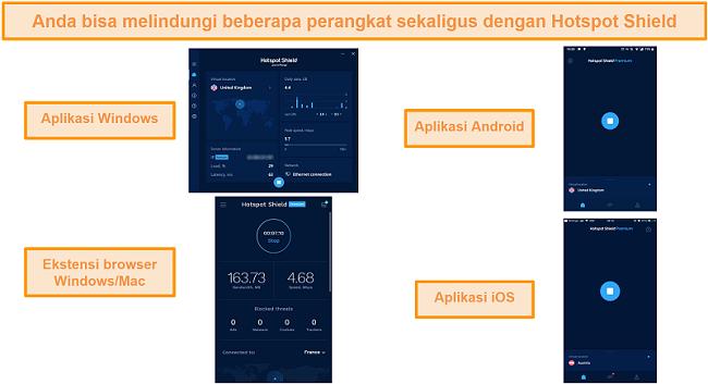 tangkapan layar aplikasi Hotspot Shield di Windows, Android, Mac, dan iOS.