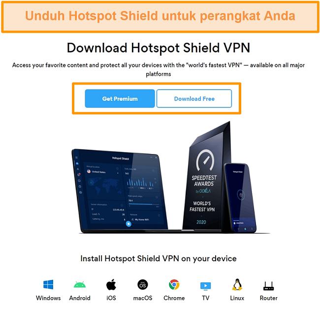 Tangkapan layar dari halaman unduhan Hotspot Shield.