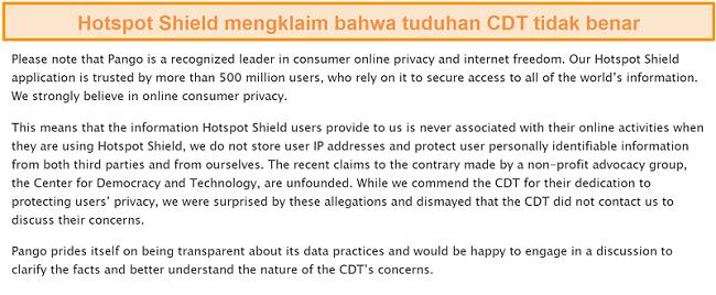 Tangkapan layar balasan email Hotspot Shield ketika ditanya tentang insiden 2017 yang melibatkan CDT yang mengajukan keluhan ke FTC tentang praktik pengumpulan data Hotspot Shield.